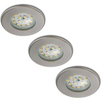 Set of 3 LED recessed lights Nikas IP44  nickel