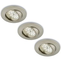 Rotatab  LED recessed light  set of 3  matt nickel