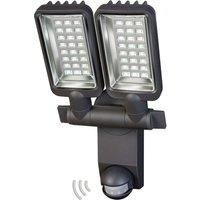City 2 bulb outdoor LED spotlight with sensor