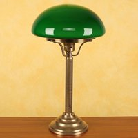 Hari brass table lamp with a green lampshade