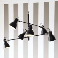 Six bulb hanging light Pigalle in black