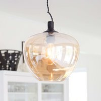 Glass hanging light Bellissimo in amber