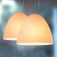 Sand coloured pendant light BELL 30 cm 2 bulb