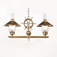 Grecale two bulb hanging light with ship s helm