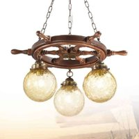 Timone three bulb hanging light  textured glass