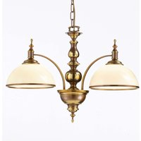 Corolla two bulb hanging lamp  antique brass