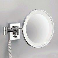 POINT   illuminated cosmetic wall mirror  chrome