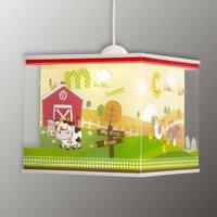 With farm motifs   My Little Farm hanging lamp