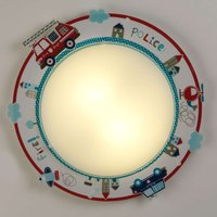 Round  colourful children s ceiling light Police