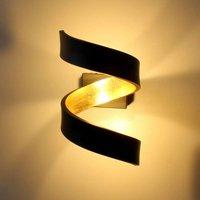 LED wall light Helix  black gold  17 cm