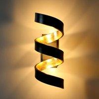 LED wall light Helix  black gold  26 cm