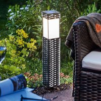 LED solar floor lamp Rattan   universal white