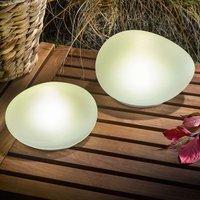 Solar powered LED deco stones Flintstone set of 2