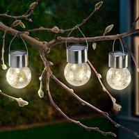 Crackle Ball LED solar lights  set of 3  3 000 K