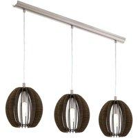 Cossano   three bulb pendant light made of wood