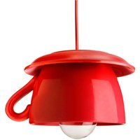 Tazza   red ceramic hanging light for the kitchen