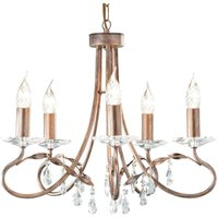 Christina Chandelier Five Bulbs Silver   Gold