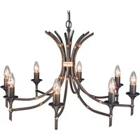 Bamboo Hanging Light Eight Bulbs Bronze