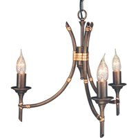 Bamboo Hanging Light Three Bulbs Bronze