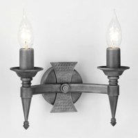 Saxon Wall Light Two Bulbs Black Silver