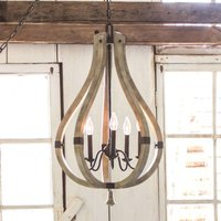 Wood and steel chandelier Middlefield  5 light