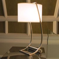 Integrated USB port   fabric table lamp Lex