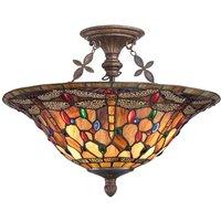 Elegant Dragonfly in Tiffany style ceiling light