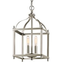 Two bulb hanging light Larkin in nickel