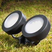 Round Tommy LED ground spike light black 10W 2 blb