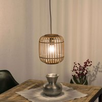 Malacca hanging light  wooden lampshade  1 bulb