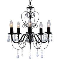Zacharias Black Chandelier  5 Lamp