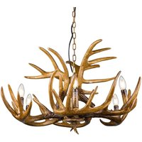 Waleah hanging light with antlers  six bulb