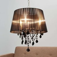 Hanging light Inaya with black fabric lampshade