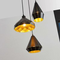 Kylian hanging light  black and gold  3 bulb