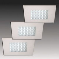 Three Q 68 LED recessed lights with a steel optic