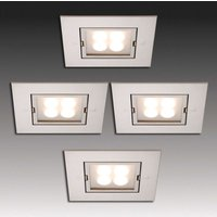Four LED recessed lights stainless steel