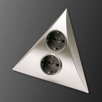 Luxor power point with 2 sockets  steel