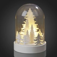 Stylish LED bell jar with white Christmas trees