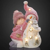 LED girl figure with snowman  battery powered