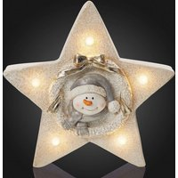 LED star with internal snowman motif