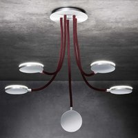 Five bulb Flex D5 LED ceiling light  red arms
