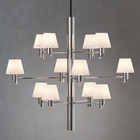 Chrome chandelier Gil with twelve glass lampshades
