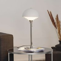 Motown white table lamp with louvre