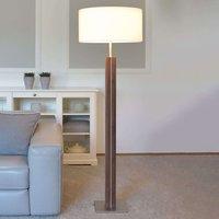 Floor lamp Dana  walnut  white fabric shade