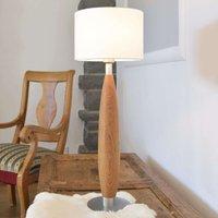 Stylish fabric buffet lamp Paula with wooden base
