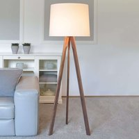 Tre floor lamp white lampshade  oiled walnut