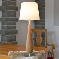 Wooden table lamp Lara  fabric lampshade  61 cm