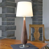Table lamp Lara wooden base fabric lampshade 61 cm