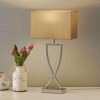 Modern fabric table lamp Anni chrome cappuccino