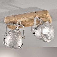 Old 2 bulb wooden ceiling light